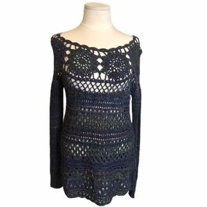 Free People Loose Knit Blue & Green Sweater Small